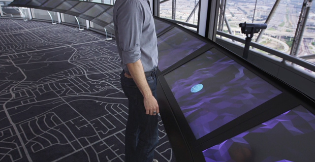 """An array of 3M 46"""" displays on the Reunion Tower observation deck."""