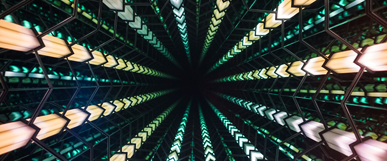 To Infinity and Below - a digitally-enhanced infinity mirror provides the illusion of a 54-story drop.