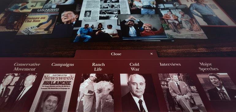 photo of interactive exhibit on touchscreen